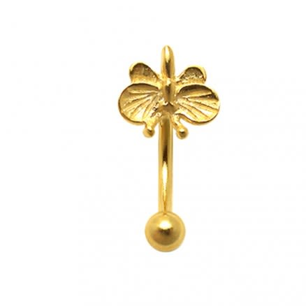 Gold Plated Tiny Butterfly Eyebrow Ring