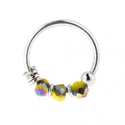 925 Silver Lemon Porcelain Bead Nose Hoop Ring