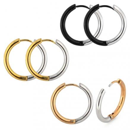Two Colors in One Surgical Steel Hinged Sleeper Earrings Hoops