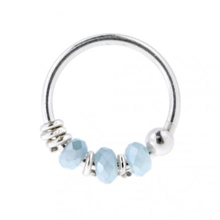 925 Sterling Silver Light Blue Bead Nose Hoop Ring