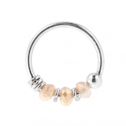 925 Sterling Silver Peach Bead Nose Hoop Ring