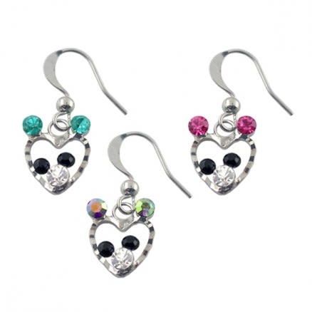 Metal and Multi Rhinestone Costume Earring