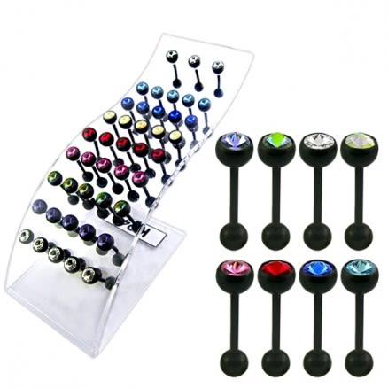 Jeweled Bio Flex Tongue Bars In Display