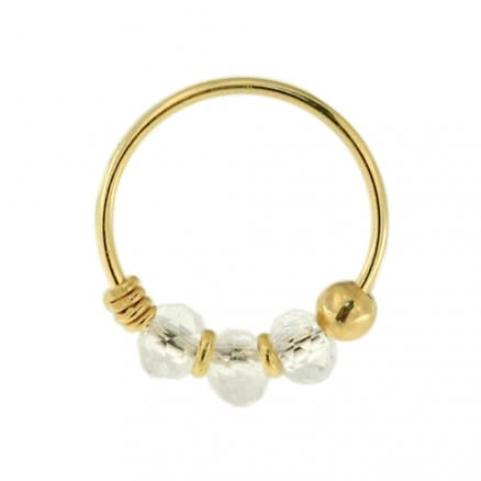 9K Yellow Gold Clear Bead Nose Hoop Ring