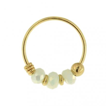 9K Yellow Light Aqua Porcelain Bead Nose Hoop Ring