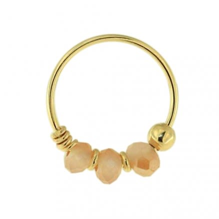 9K Yellow Peach Bead Nose Hoop Ring