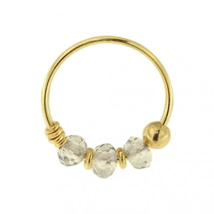 9K Yellow Transparent Grey Bead Nose Hoop Ring