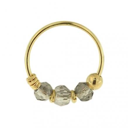 9K Yellow Light Grey Bead Nose Hoop Ring