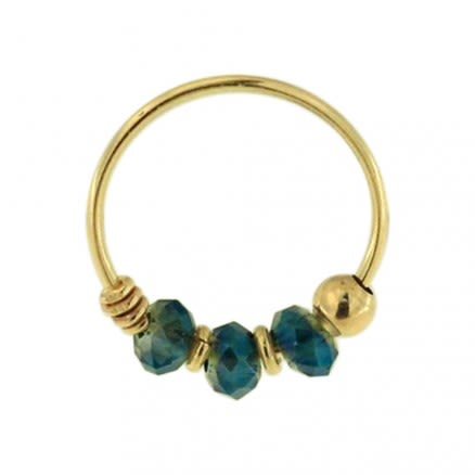 9K Yellow Bermuda Blue Bead Nose Hoop Ring