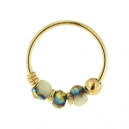 9K Yellow Light Grey Porcelain Bead Nose Hoop Ring