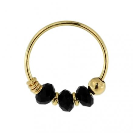 9K Yellow Gold Black Bead Nose Hoop Ring
