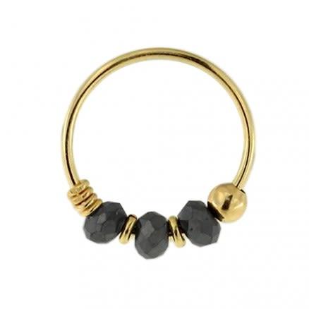 9K Yellow Gold Black Bile Bead Nose Hoop Ring