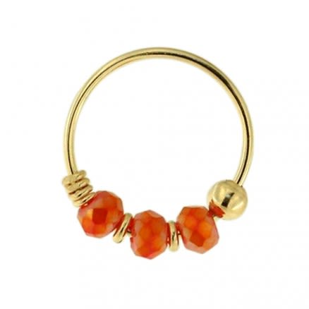 9K Yellow Gold Red Bead Nose Hoop Ring