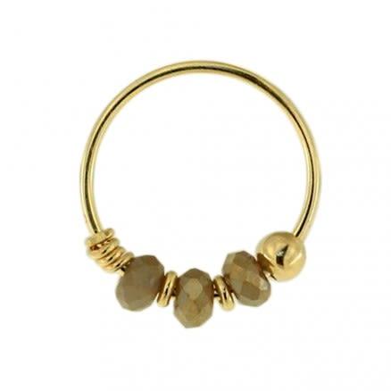 9K Yellow Gray Bead Nose Hoop Ring