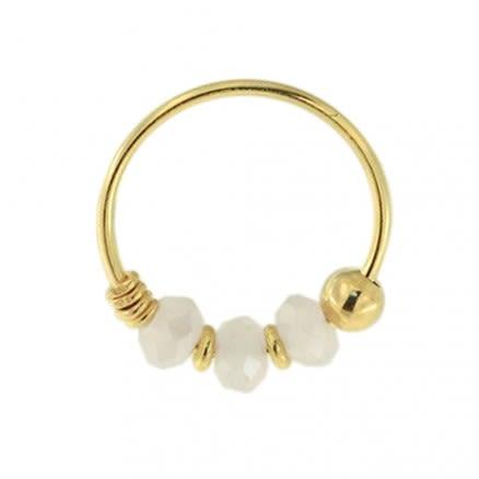 9K Yellow Gold Pink Jade Bead Nose Hoop Ring