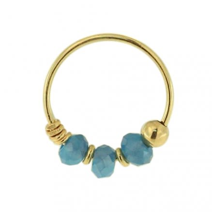 9K Yellow Light Blue Bead Nose Hoop Ring