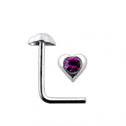 Jeweled Heart L Nose Pin