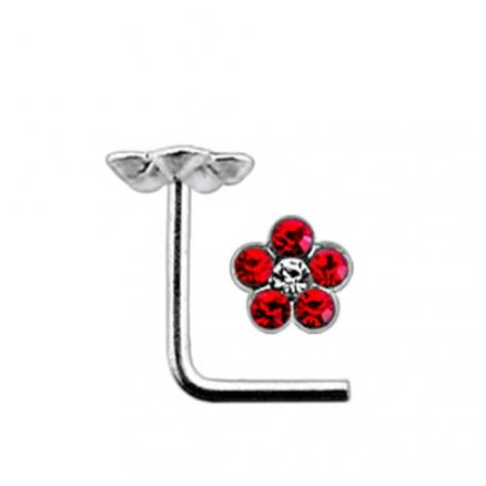 Flower with Center Clear Stone L Nose Pin