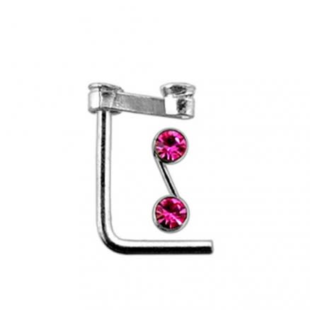 "Double Jeweled  ""S"" L Shaped Nose Pin"