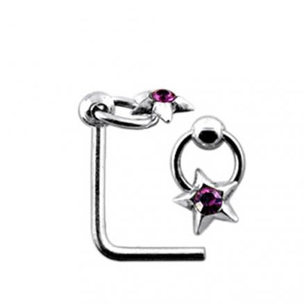 Moving Star on Ring L Shaped Nose Stud