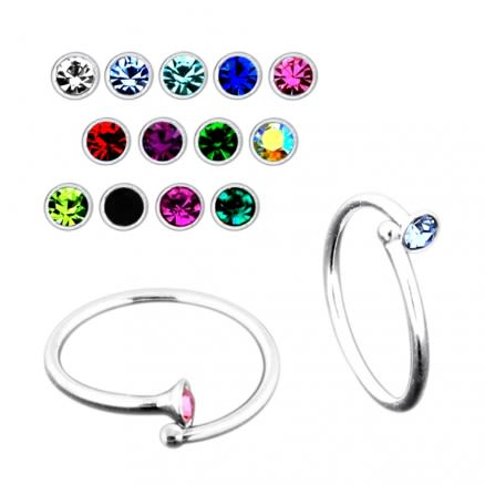 925 Sterling Silver Jeweled Flexible Nose and Ear Tragus Ring with Ball End