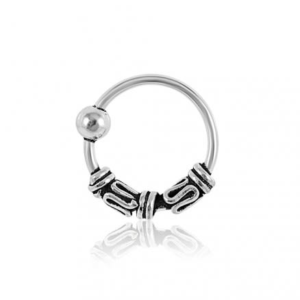 925 Sterling Silver Bali Style Oxidized Tribal Twist Open Nose Ring