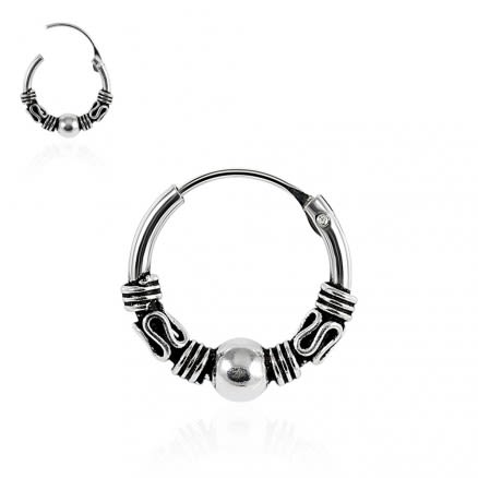 925 Sterling Silver Bali Style Oxidized Center Beaded Tribal Hinged Segment Nose Ring