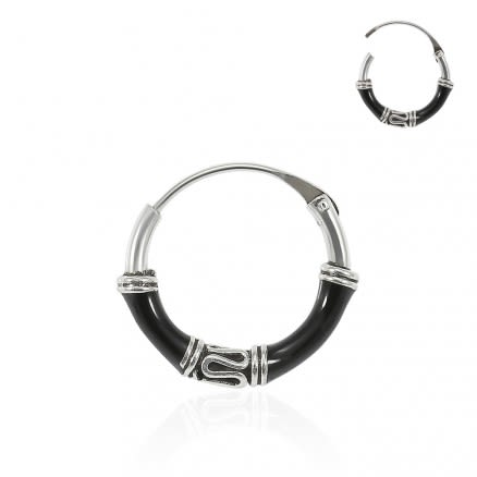 925 Sterling Silver Bali Style Black Enamel Coated Oxidized Tribal Hinged Segment Nose Ring