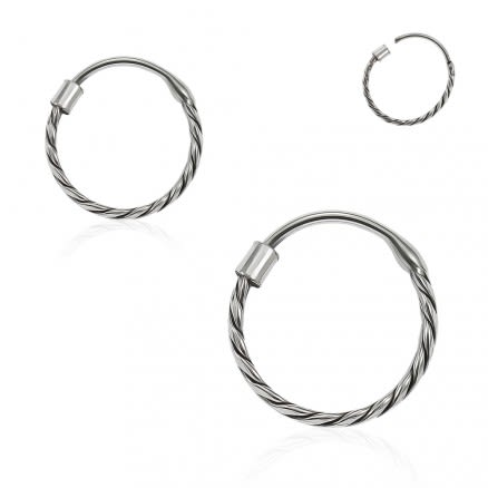 925 Sterling Silver Bali Style Oxidized Tribal Twisted Hinged Segment Nose Ring
