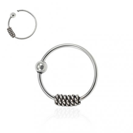 925 Sterling Silver Bali Style Oxidized Tribal Hinged Segment Nose Ring