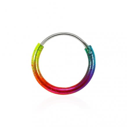 925 Sterling Silver Multi Color Enamel Coated Hinged Segment Nose Ring