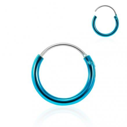 925 Sterling Silver Metallic Blue Enamel Coated Hinged Segment Nose Ring