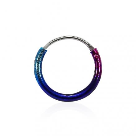 Multi Color Enamel Coated 925 Sterling Silver Hinged Segment Nose Ring