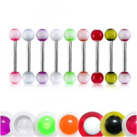 316L Surgical Steel Tongue Barbells With UV Balls Body Piercing Jewelry