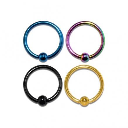 316L Surgical steel Anodised BCR ring