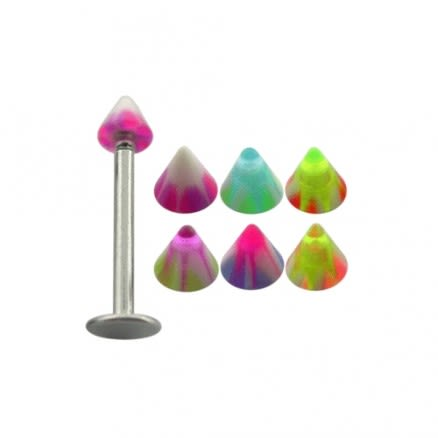 Labret Monroe Surgical Steel With UV Acrylic Cones
