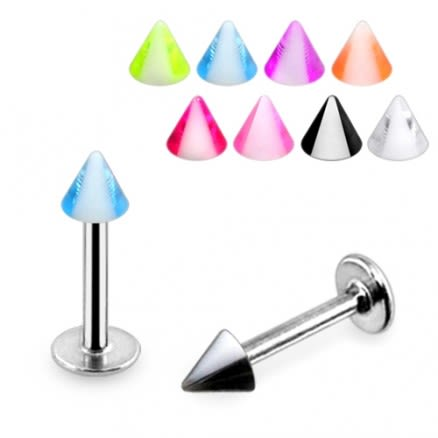 316L Surgical Steel UV Color CONE SPIKE Labret Monroe Chin Lip Piercing