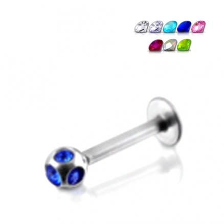 Surgical Steel Lip labret With Multi Jeweled Ball