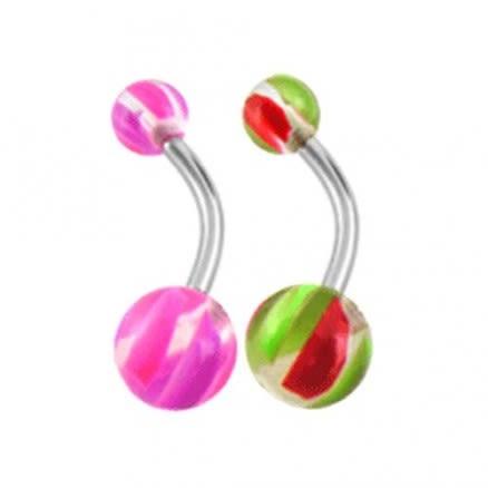 Assorted Mix Color UV Acrylic Ball With Banana Bar Navel Rings