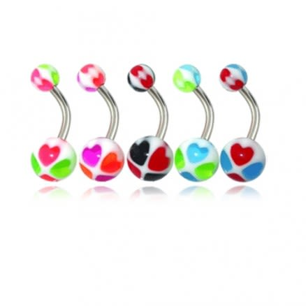 Assorted Heart Design Fancy UV Balls With Banana Bar Belly Rings Body Jewelry