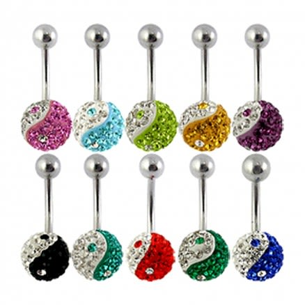 Assorted Ying Yang Collection Of Crystal stone Belly Ring