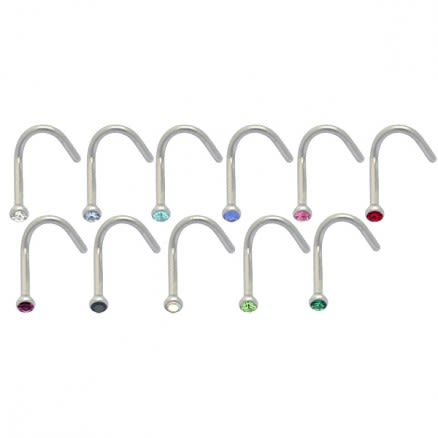 316L SS Jeweled Bent Nose Stud Body Jewelry