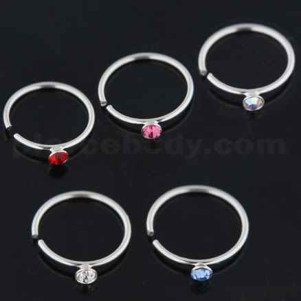 925 Sterling Silver Jeweled Nose Hoop Ring in Box