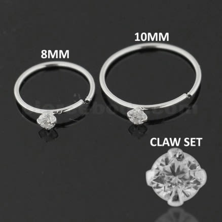 925 Sterling Silver 4 Claw Set Jeweled Nose and Ear Tragus Ring