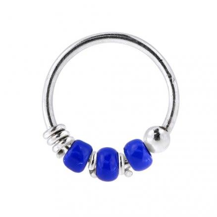 925 Sterling Silver Transparent Dark Blue Bead Nose Hoop Ring