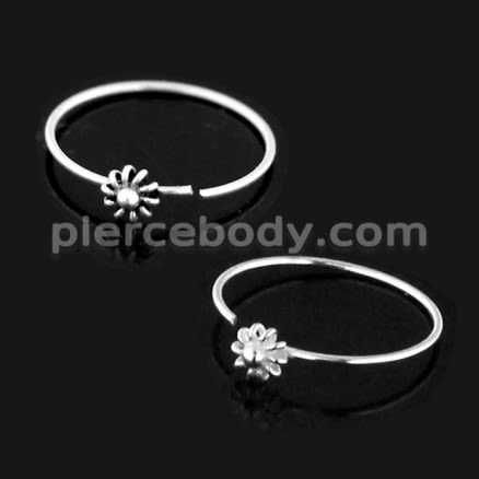Open Hoop BCR 925 Sterling Silver Flower Nose and Ear Tragus Ring