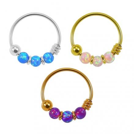 925 Sterling Silver Opal  Bead Nose Hoop Ring
