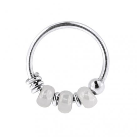 925 Sterling Silver Cream White Bead Nose Hoop Ring