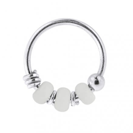 925 Sterling Silver Milk White Bead Nose Hoop Ring