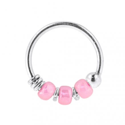925 Sterling Silver Transparent Pink Bead Nose Hoop Ring